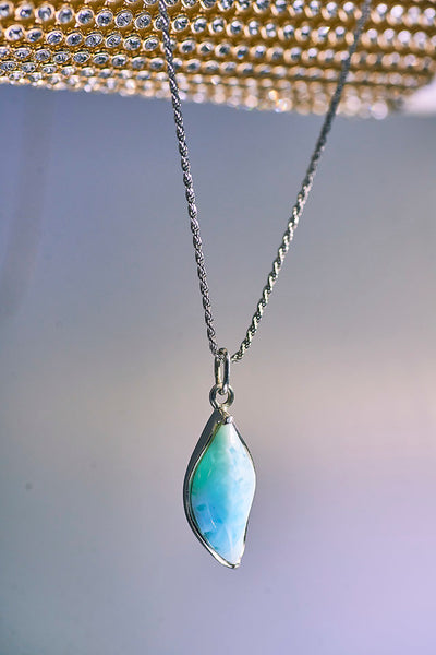 Leaf Larimar Necklace