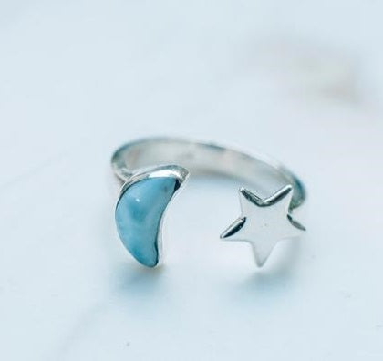 Luna Azul Open Larimar Ring