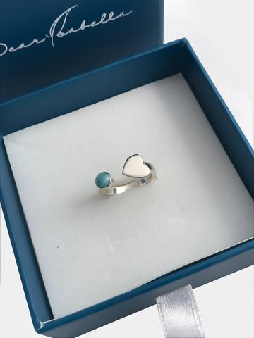 Open Larimar Heart Ring