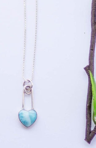 Safe Haven Heart - Larimar Safety Pin Necklace