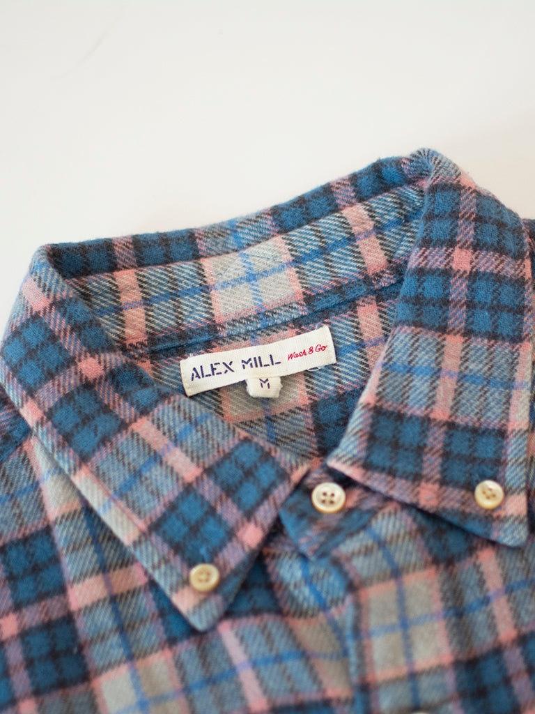 Plaid Flannel Shirt in Blue & Pink