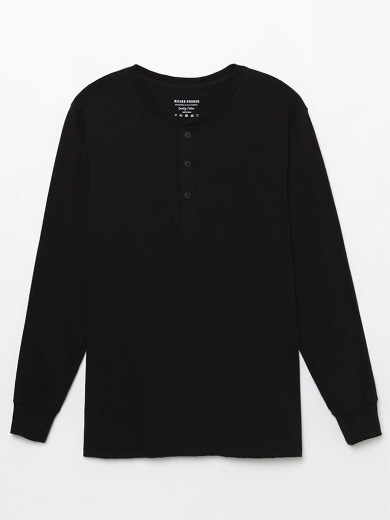Henley Long Sleeve- Black