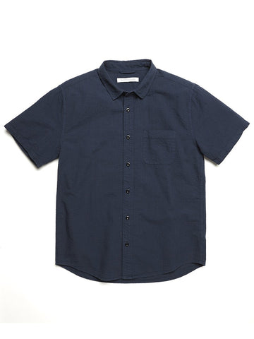 Stringer Seersucker Shirt- Marine
