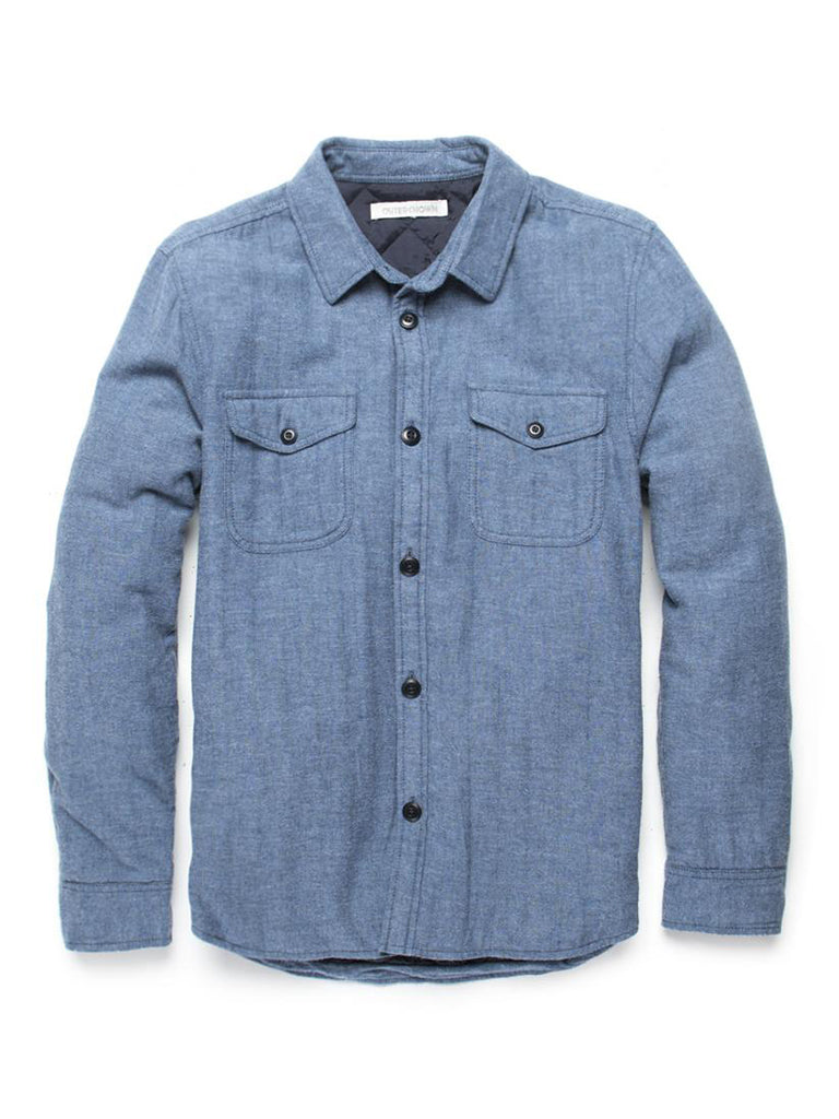 Transitional Flannel Shirt Jacket- Blue Herringbone
