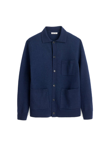 Boiled Wool Work Jacket- Navy