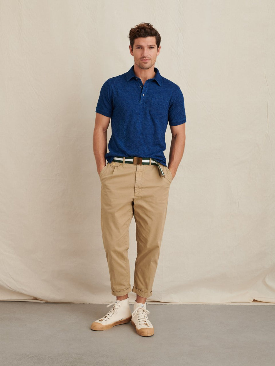 Slub Cotton Polo- Dark Indigo