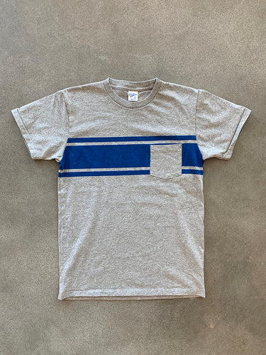 College Stripe Tee- Heather Grey