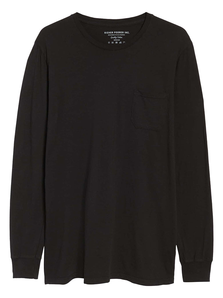 Long Sleeve Crew Tee- Black
