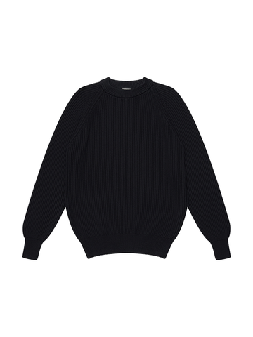Heavy Rib Cotton Sweater- Black