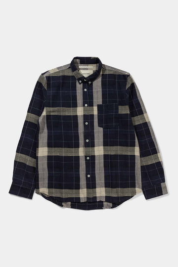 Troels Check Shirt- Navy