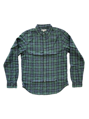Double Gauze Plaid Button Down Shirt- Green/Blue