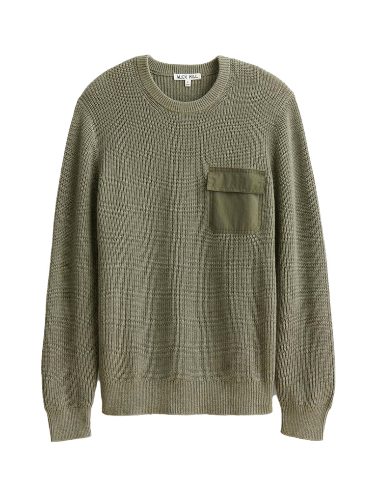Woven Pocket Sweater- Olive
