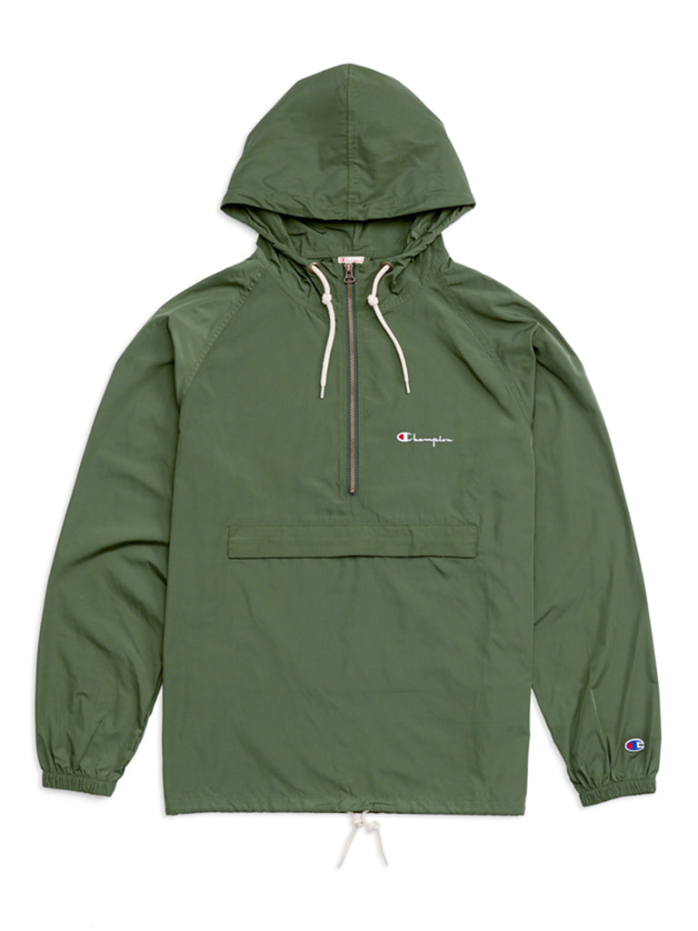 Half Zip Hooded Jacket- Deep Pine Green