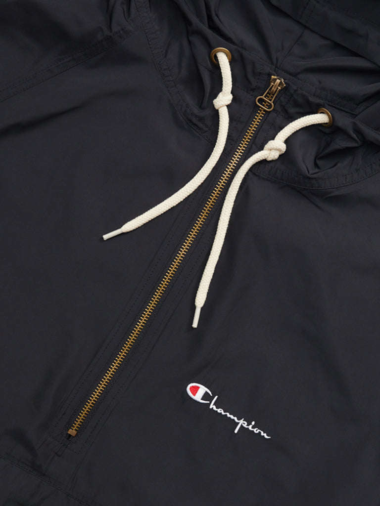 Half Zip Hooded Jacket- Black