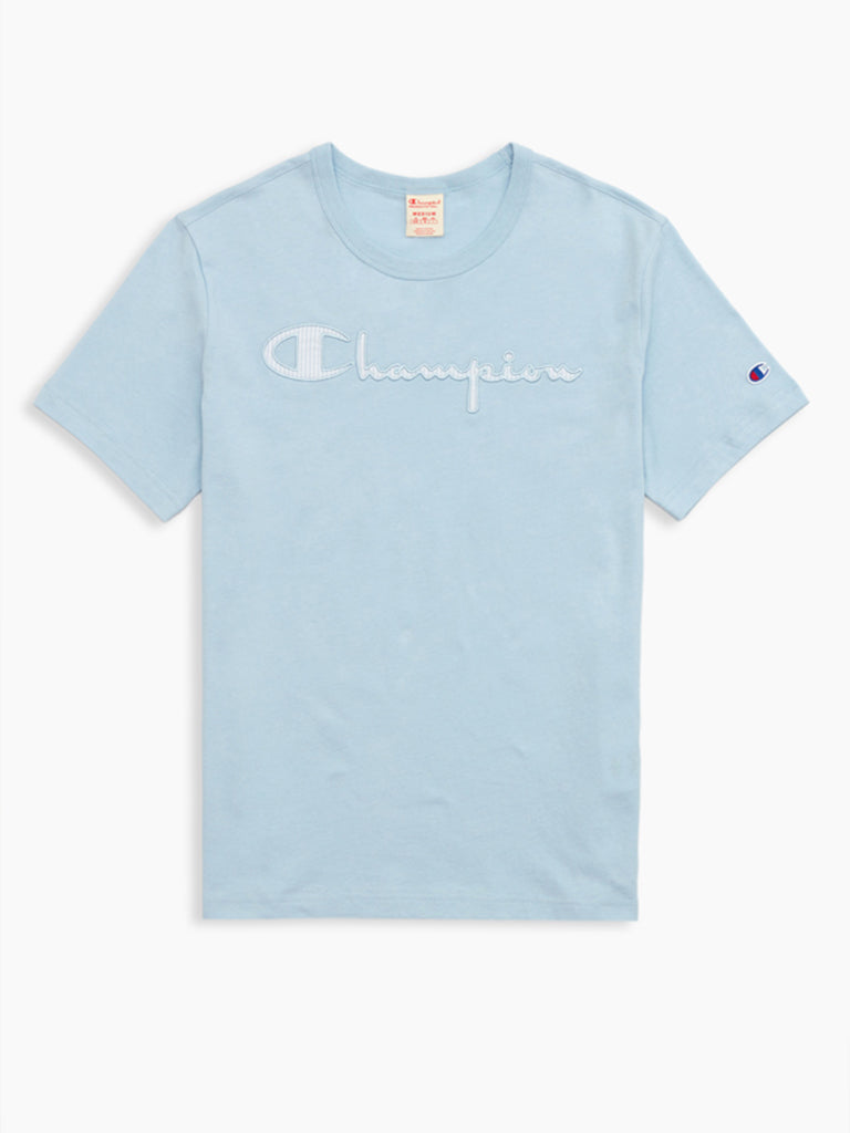Seersucker Script Logo Crew Neck T-Shirt- Cornflower Teal