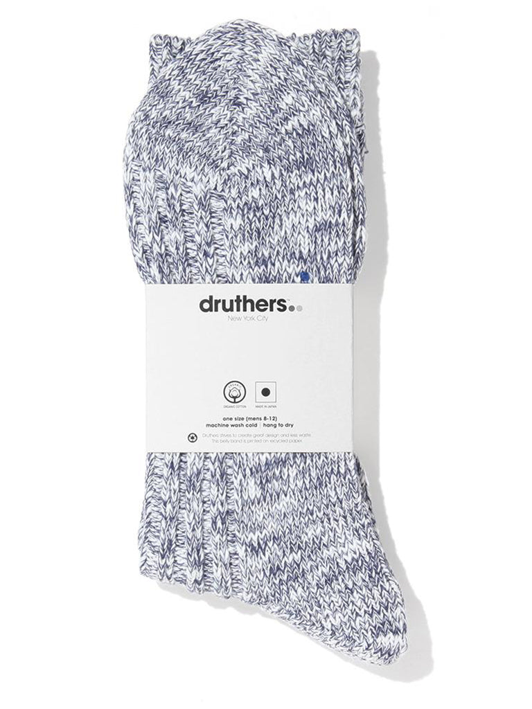 Organic Cotton Ribbed Slub Crew Socks- Navy