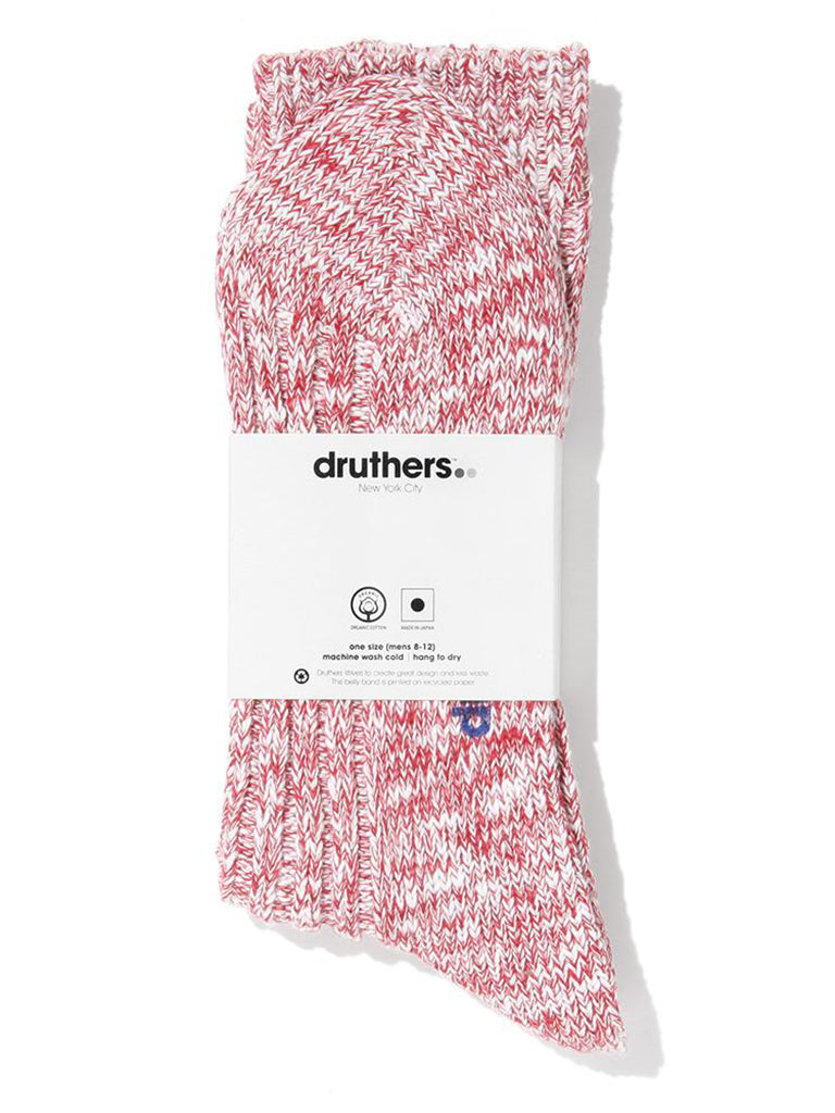 Organic Cotton Ribbed Slub Crew Socks- Red