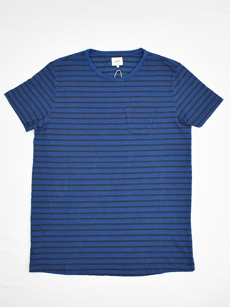BT-01 Pocket Tee- Indigo Black Stripe