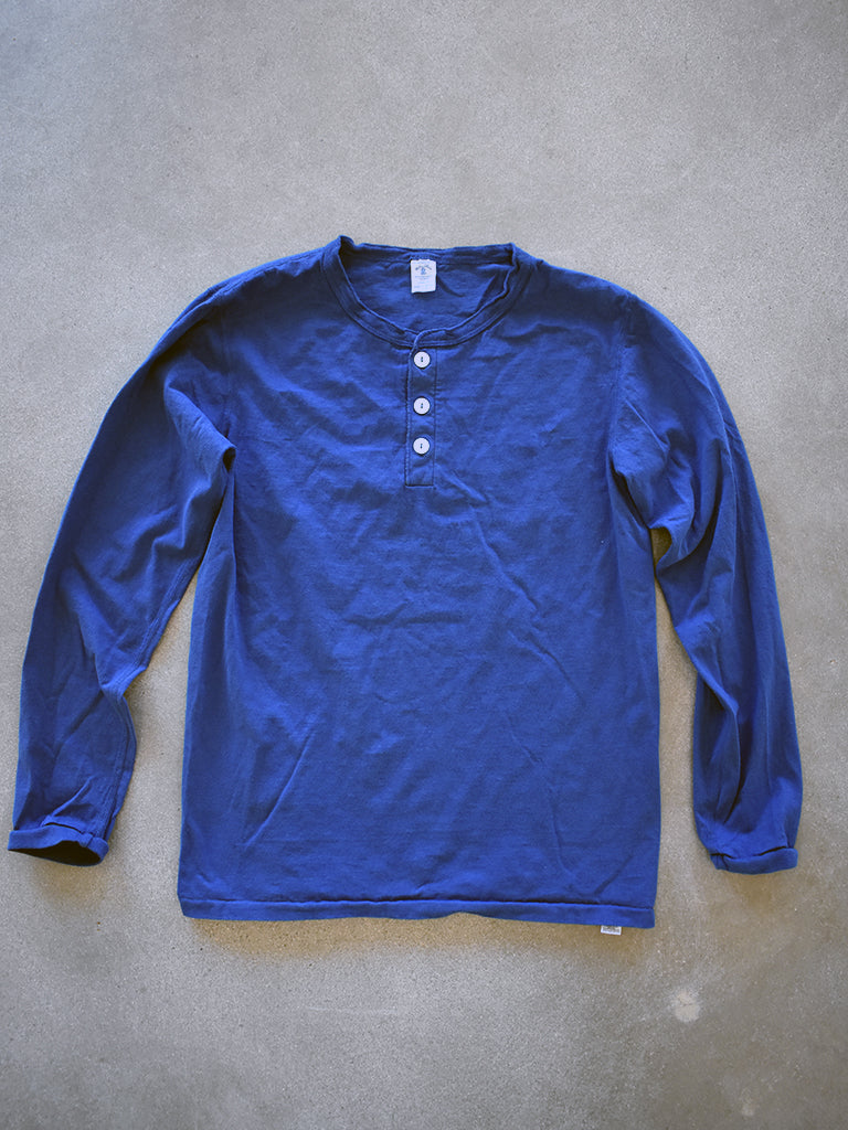 Tubular Long Sleeve Henley- Navy