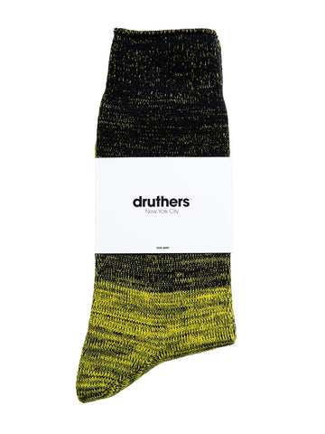Organic Cotton Gradient Crew Sock - Black/Yellow