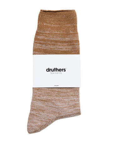 Organic Cotton Gradient Crew Sock - Brown/Taupe