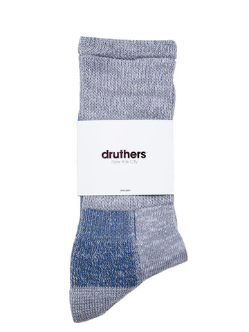 Organic Cotton Defender Crew Socks - Grey Blue