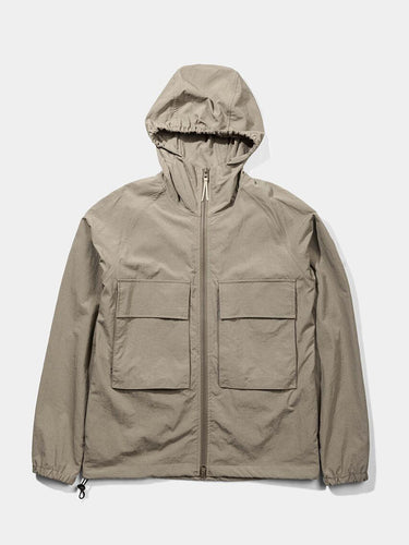 Hooded Windbreaker Jacket- Brown