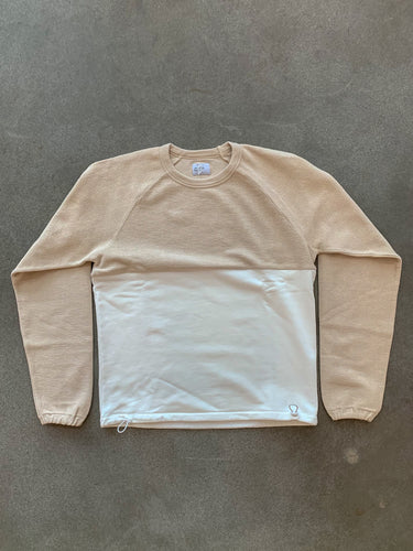 Le Ribless Sweat Color Blocked- Stone/White