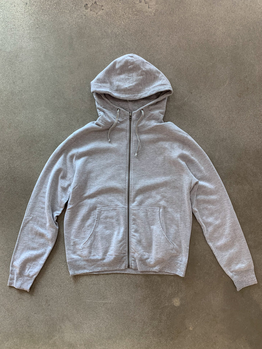 Heather Fleece Zip Hooded Sweatshirt- Heather Grey