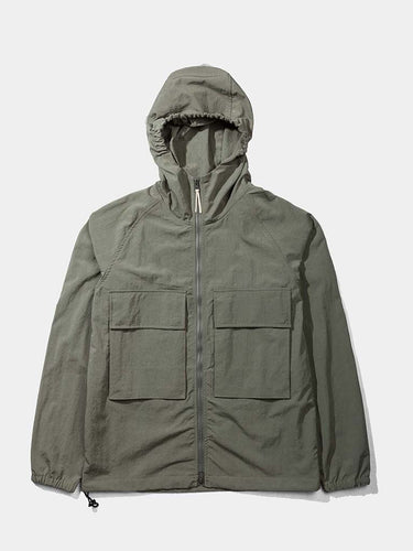Hooded Windbreaker Jacket- Olive