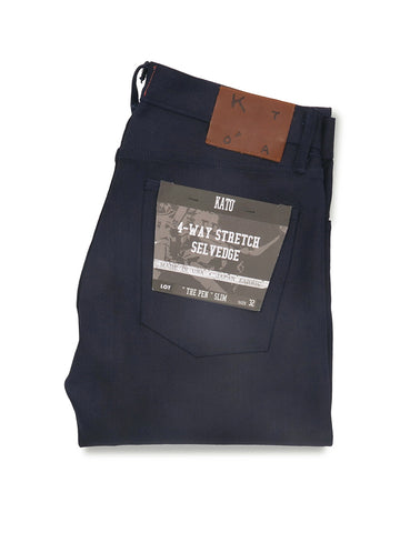 The Pen Slim 10.5oz Raw Stretch Selvedge- Indigo/Black