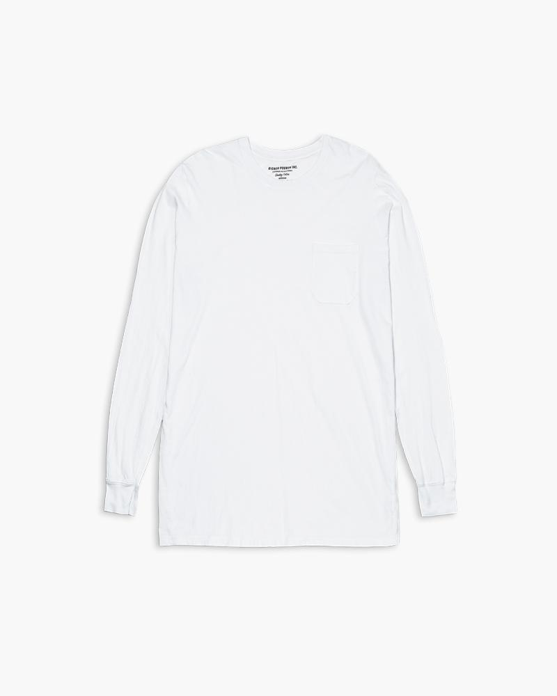 Mens Long Sleeve Crew Tee- White