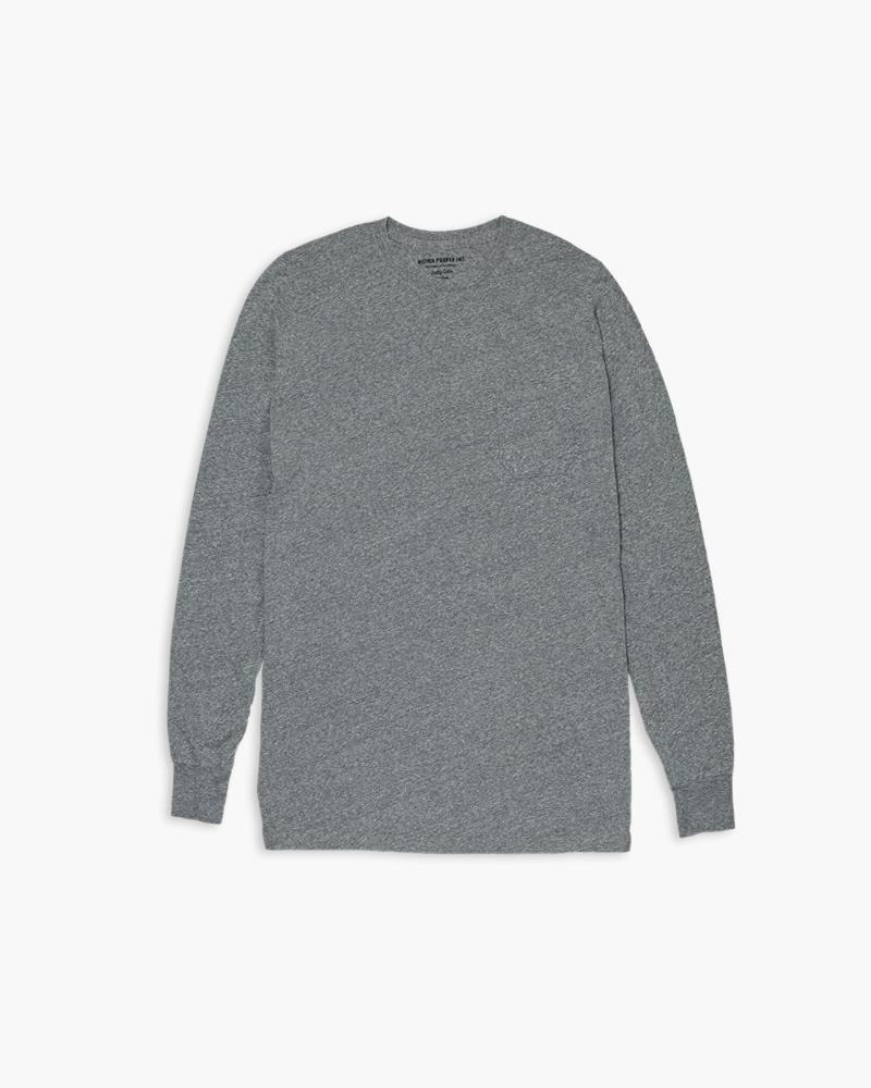 Mens Long Sleeve Crew Tee- Heather Grey