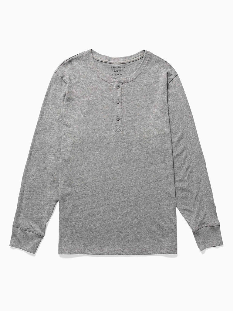 Henley Long Sleeve- Heather Grey