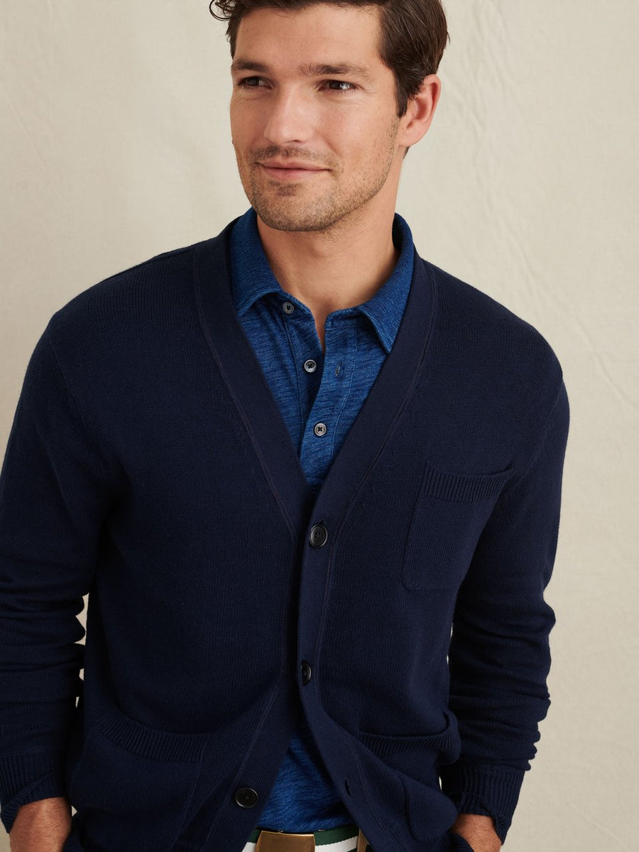 Marshall Cotton Cardigan- Dark Navy