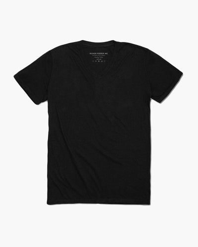 Mens V-Neck Short Sleeve Tee- Black