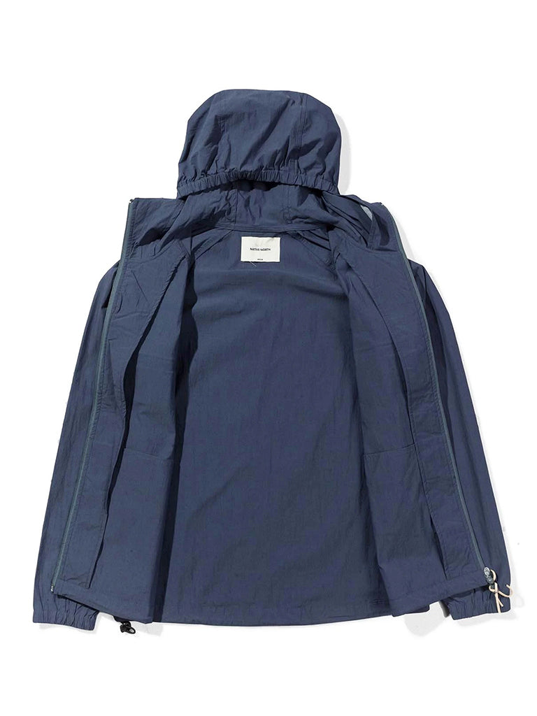 Hooded Paper Jacket- Navy