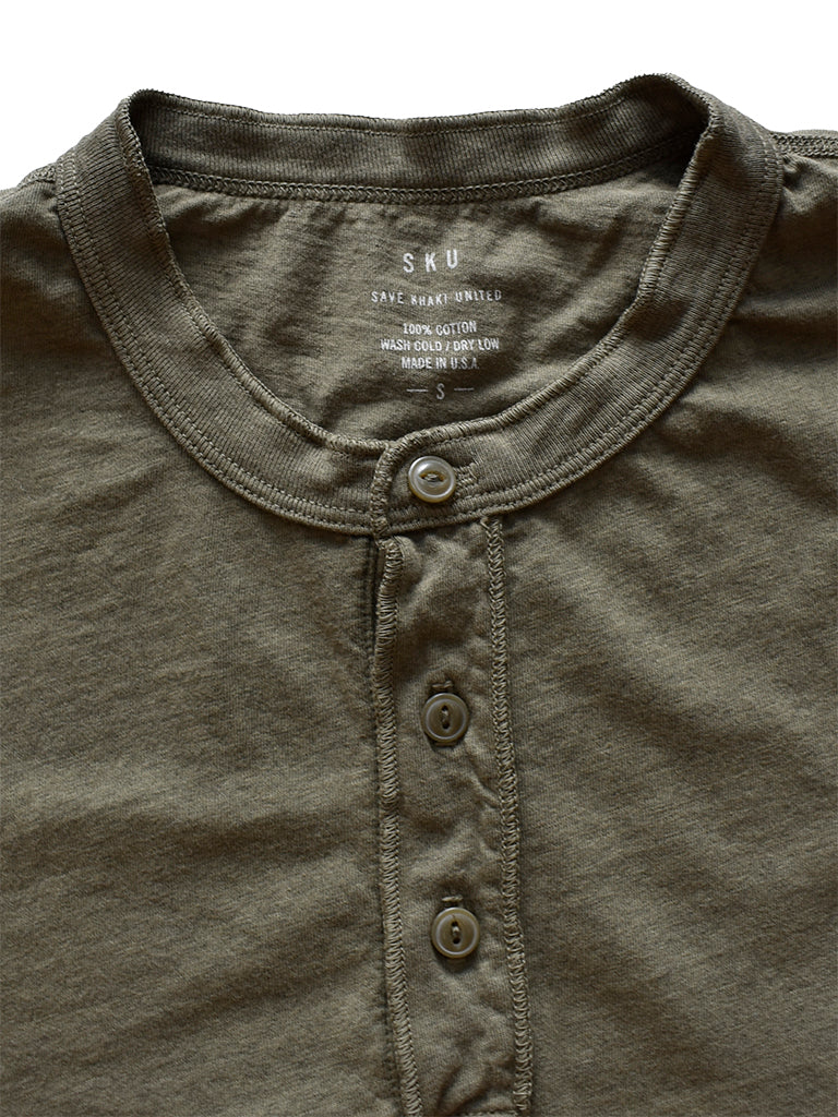 Supima Jersey Henley- Heather Olive