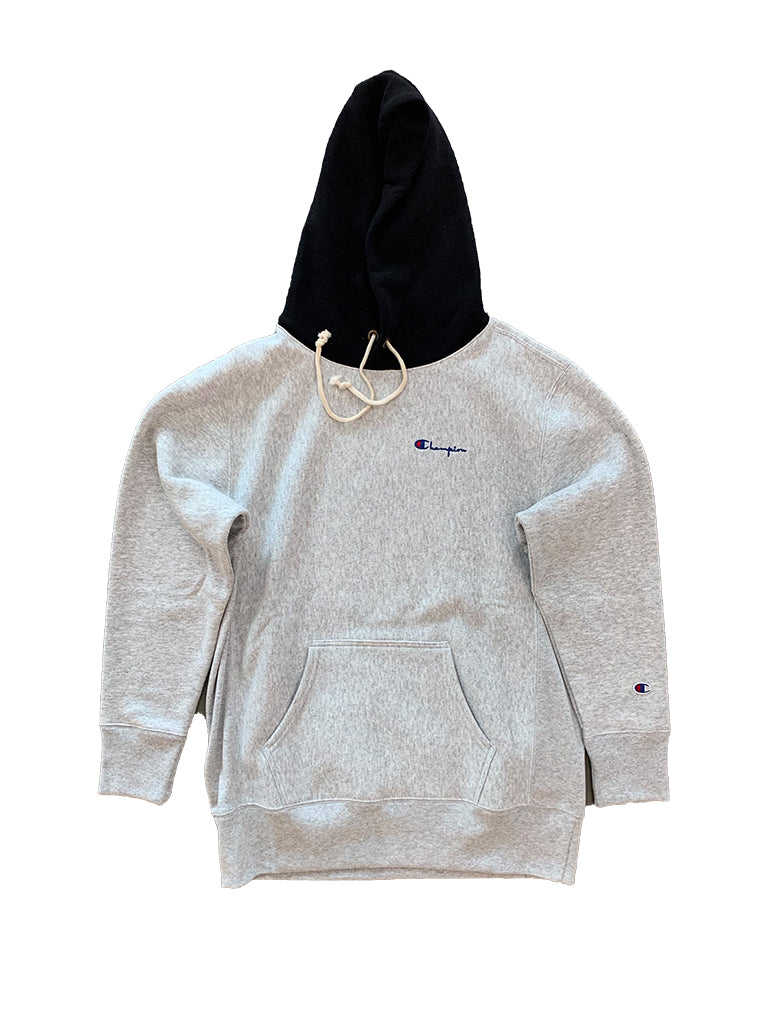 Reverse Weave Color Block Hoodie- Grey/Black