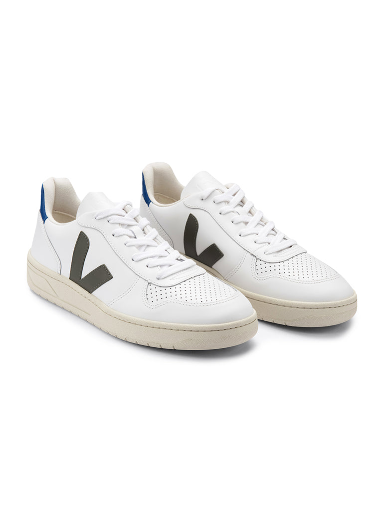V-10 Leather- White/Kaki/Indigo