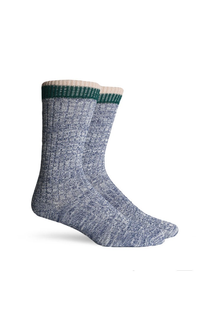 Noble Textured Crew Socks- Navy