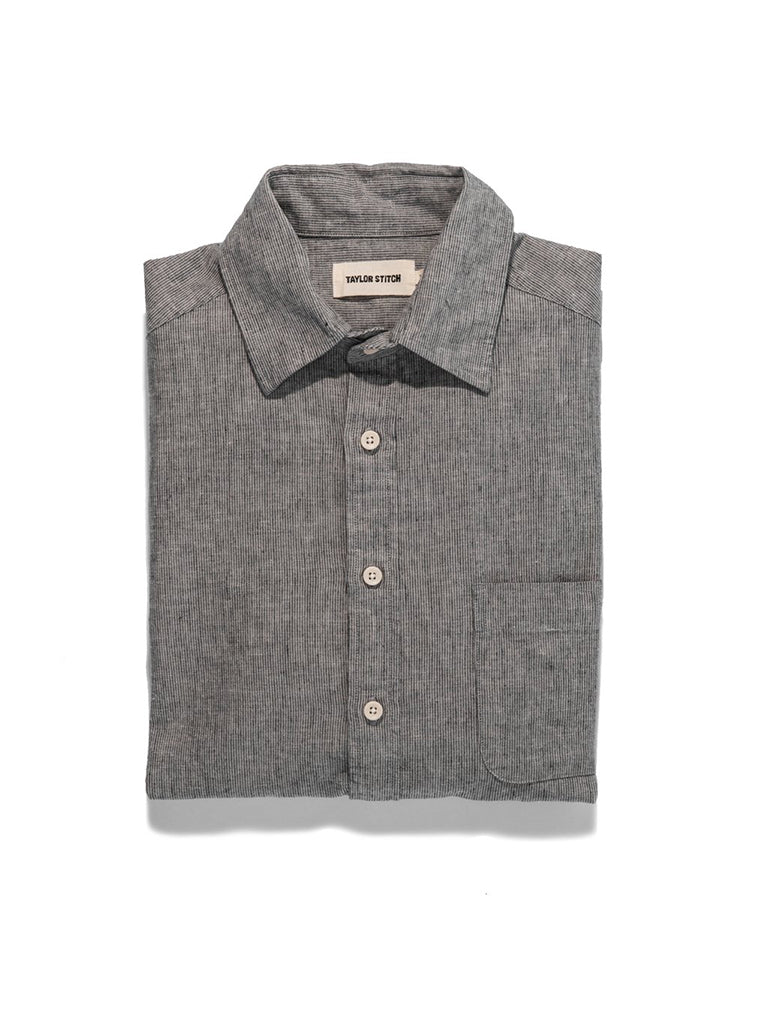 The California Shirt- Grey Mini Stripe