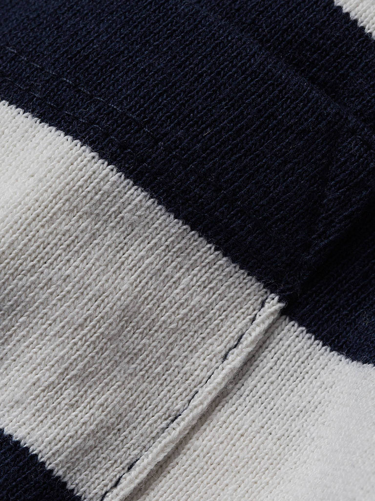 Heavy Bag tee- Natural & Navy Rugby Stripe