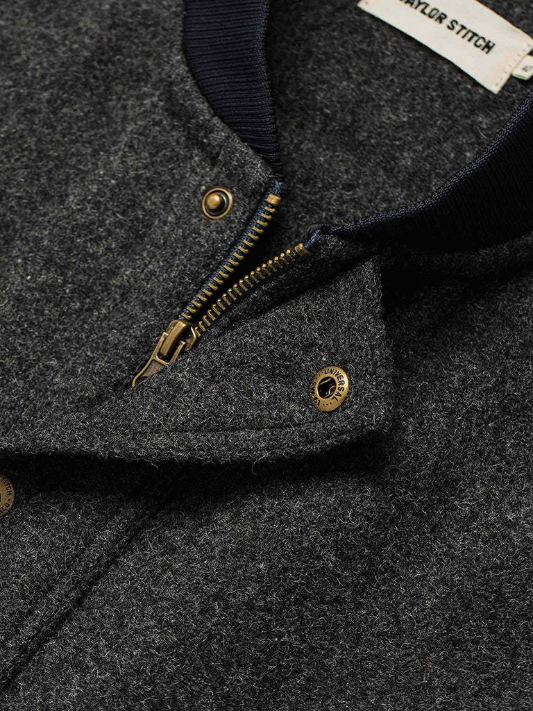 The Bomber Jacket- Charcoal Wool