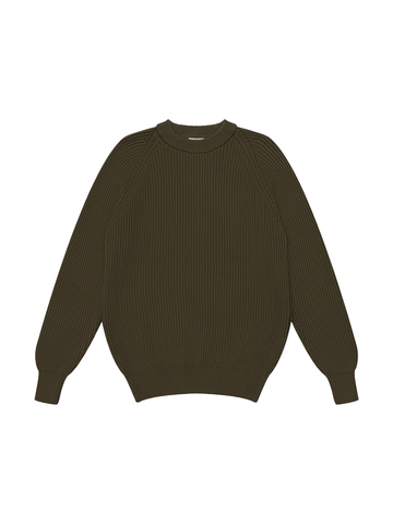 Heavy Rib Cotton Sweater- Olive