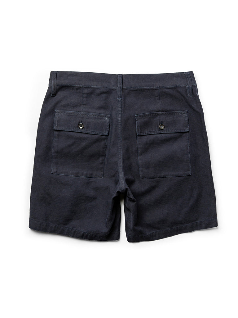 The Trail Short- Navy Slub Sateen