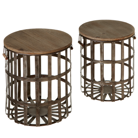 Woven Galvanized Storage Basket Side Table