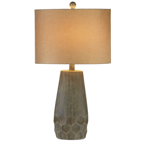 Greywash Honeycomb Table Lamp - Living Roots Decor
