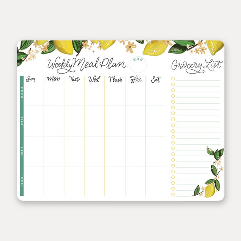 Lily and Val - Whimsical Lemon Meal Planner Pad & Grocery List - Living Roots Decor