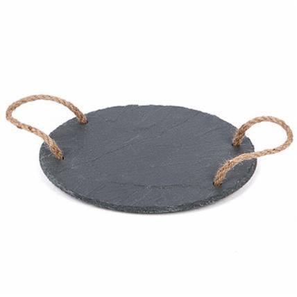Round Slate Cheese Tray with Rope - Living Roots Decor